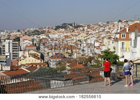 Lisbon, Portugal, April 8, 2017 : A General View Of The City Of Lisbon From A Place Of Bairro Alto