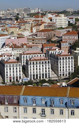 Lisbon, Portugal, April 5, 2017 : A General View Of The City Center Of Lisbon From Saint George Cast