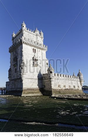 Lisbon, Portugal, April 6, 2017 : The Belem Tower Is A Unesco World Heritage Site Because Of The Sig