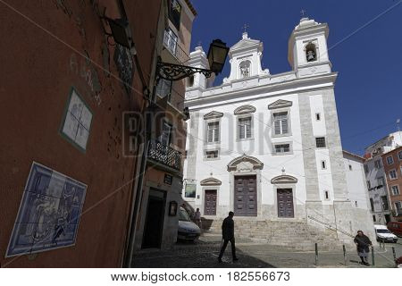 Lisbon, Portugal, April 5, 2017 : Sao Miguel Church In Alfama. Alfama Is The Oldest District Of Lisb