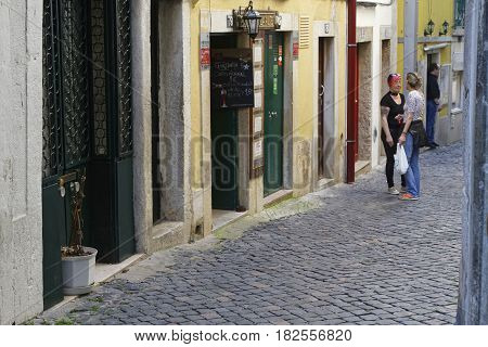 Lisbon, Portugal, April 7, 2017 : A Small Street In Alfama. Alfama Is The Oldest District Of Lisbon,