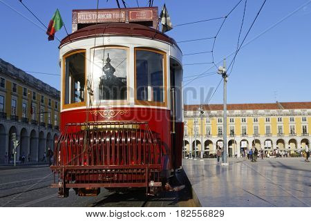 Lisbon, Portugal, April 5, 2017 : Tramway In Praca Do Commercio. The Tramway Network Serves The Capi