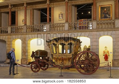 Lisbon, Portugal, April 6, 2017 : Museu Dos Coches (national Coach Museum) The Museum Has One Of The