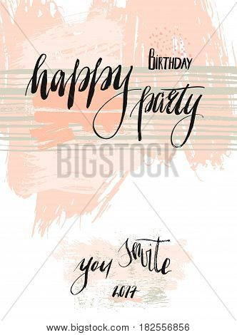 Hand drawn birthday greeting abstract textured card template design for Happy birthday party invitation with handwritten lettering in pastel and colors isolated on white background.