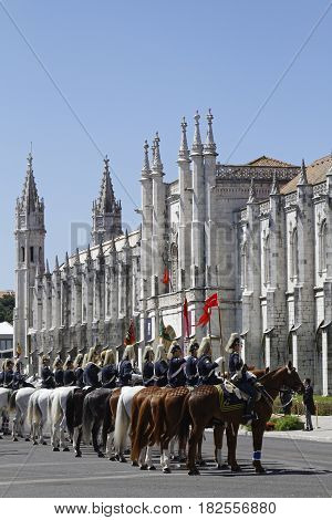 Lisbon, Portugal, April 6, 2017 : Ceremony  With Portuguese Cavalry In Front Of Presidential Palace