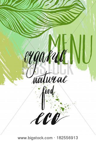 Hand drawn vector abstract design elements with handwritten lettering phase for organic vegan menu restaurant isolated on white background.Organic food tags and elements set for meal and drinkcafe