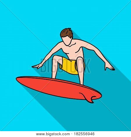 Surfer in action icon in flate design isolated on white background. Surfing symbol stock vector illustration.