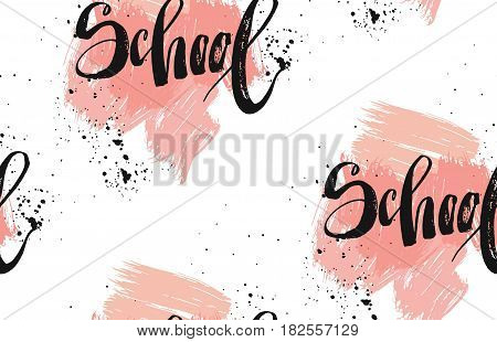 Hand drawn vector abstract textured seamless pattern with handwritten ink lettering phase school in pastel colors isolated on white background.