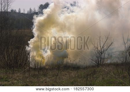 smoke grenade exploded in the war field