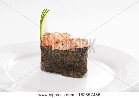 Traditional Japanese Cuisine, Gunkany On White Background