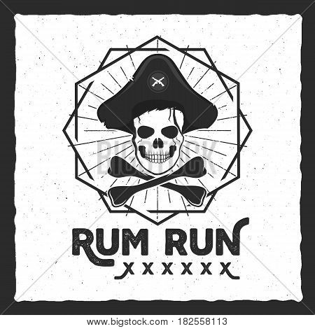 Pirate skull insignia, poster. Rum label design with sun bursts, geometric shield and vector text - rum run. Vintage style for tee design, t-shirt, web projects, logotype, pub. Isolate on white