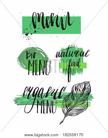 Retro set of organic menu, bio menu, natural food, healthy food labels. Hand drawn logo templates with floral and vintage elements for restaurant menu or food package. Vector badges in hipster style
