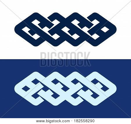 Celtic Knot - Decorative Pattern Irish Ornament Knitwork logo isolated on white and dark blue color.