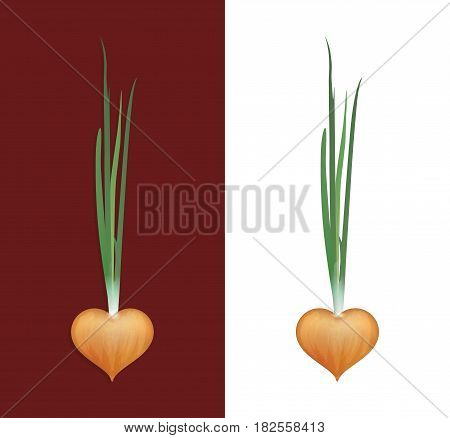 Vector Icon of Onion isolated on White and Brown Colors. Bulb of Onion in shape of Heart.