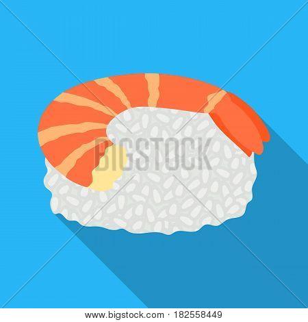 Ebi Nigiri icon in flate style isolated on white background. Sushi symbol vector illustration.