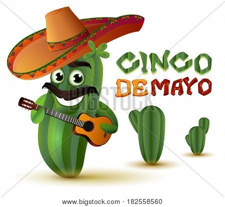 Mexican fun cactus in sombrero plays guitar. Cinco de mayo. Isolated on white vector cartoon illustration