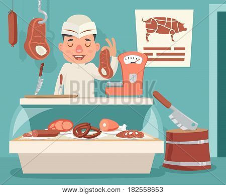 Meat Shop Counter Butcher Seller Retro Vintage Cartoon Character Icon Background Vector Design Illustration