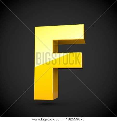 Glossy Yellow Paint Letter F Uppercase With Softbox Reflection