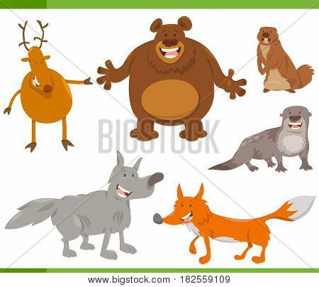 Happy Wild Animal Characters Set