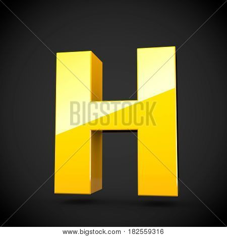 Glossy Yellow Paint Letter H Uppercase With Softbox Reflection