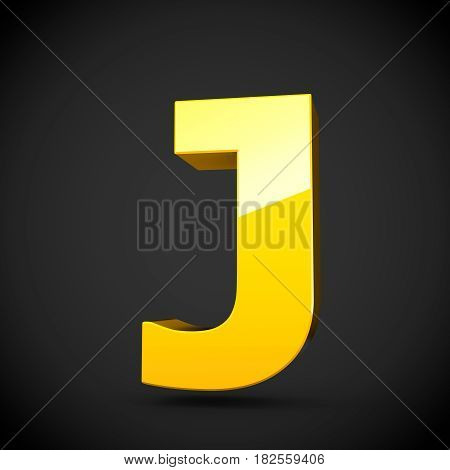 Glossy Yellow Paint Letter J Uppercase With Softbox Reflection