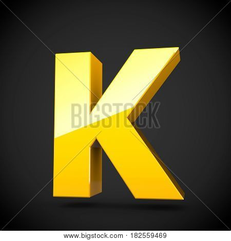 Glossy Yellow Paint Letter K Uppercase With Softbox Reflection