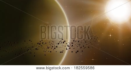 Abstract vector yellow background with planet and ring of asteroids around. Bright star light shine in the corner with protuberance. Sparkles of distant stars on the background.
