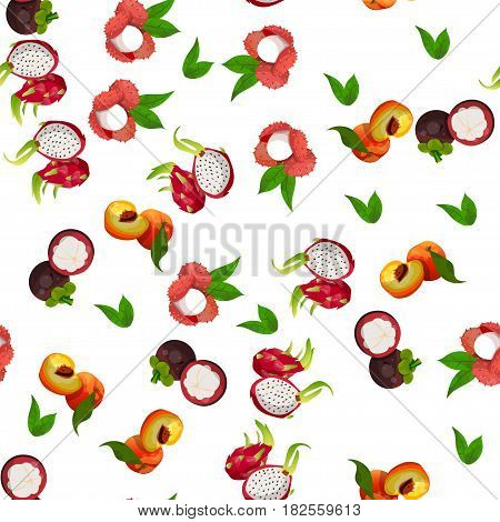Very high quality original trendy vector seamless pattern with pitaya, peach, mangosteen, lychee, dragon fruit, exotic tropical fruit