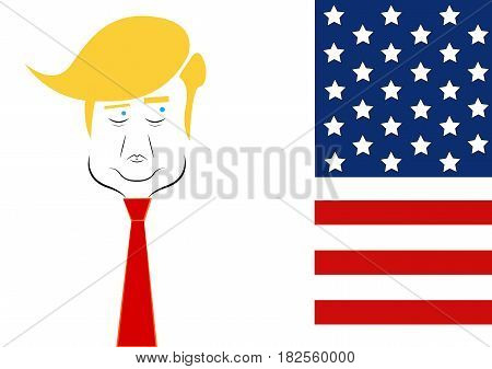 Caricature character illustration of president Donald Trump