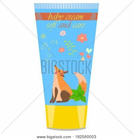 High quality original trendy vector mint Baby cream tube with kids design and fox on floral background illustration