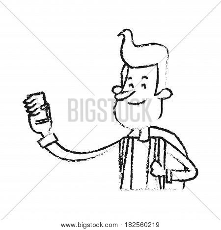 young man looking at cellphone cartoon icon image vector illustration design