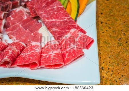 Uncooked raw fresh beef