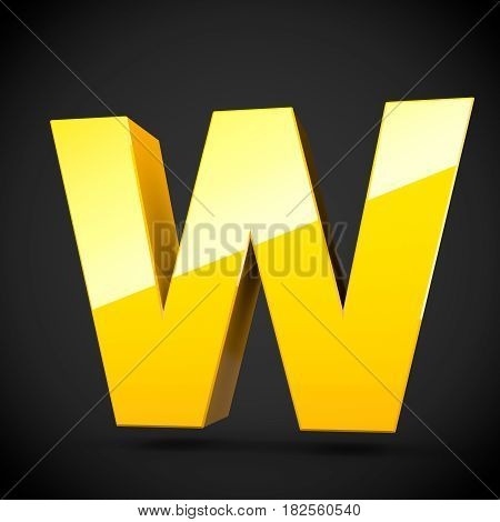 Glossy Yellow Paint Letter W Uppercase With Softbox Reflection