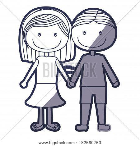 blue color contour caricature couple in suit informal with taken hands vector illustration