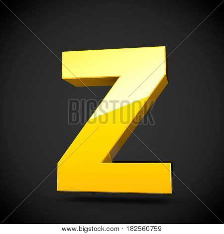 Glossy Yellow Paint Letter Z Uppercase With Softbox Reflection