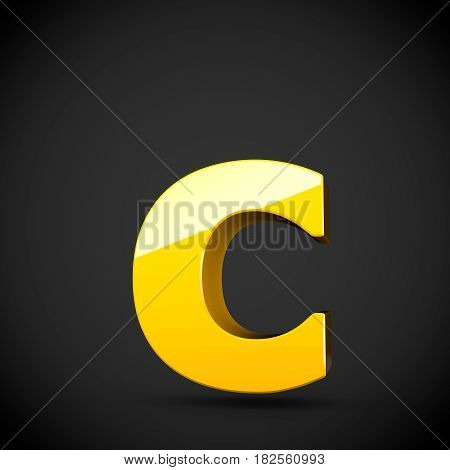 Glossy Yellow Paint Letter C Lowercase With Softbox Reflection