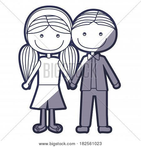 blue color contour caricature boy short hair and girl pigtails hairstyle with taken hands vector illustration