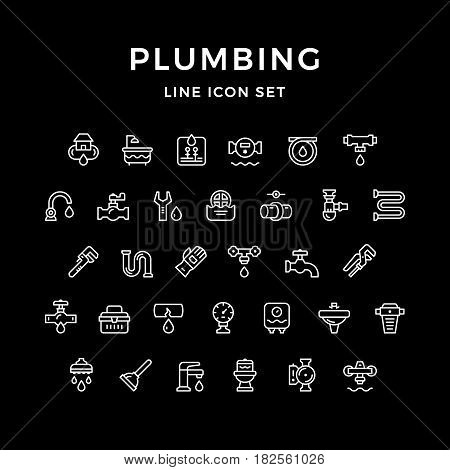 Set line icons of plumbing isolated on black. Vector illustration