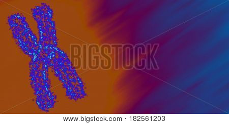 Abstract vector mesh background with chromosome. Human chromosome in orange and blue color. Futuristic medicine style card. Elegant background for business presentations.