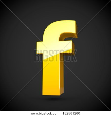 Glossy Yellow Paint Letter F Lowercase With Softbox Reflection
