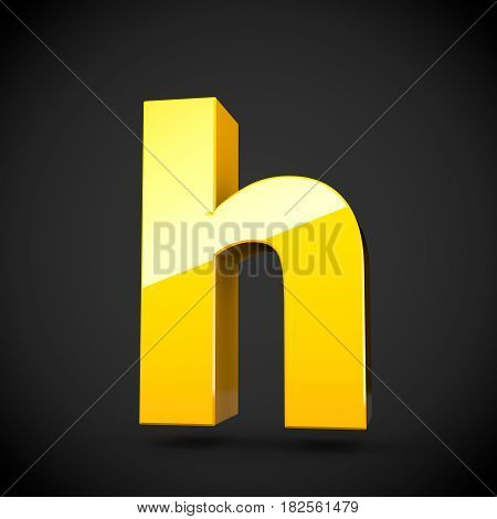 Glossy Yellow Paint Letter H Lowercase With Softbox Reflection