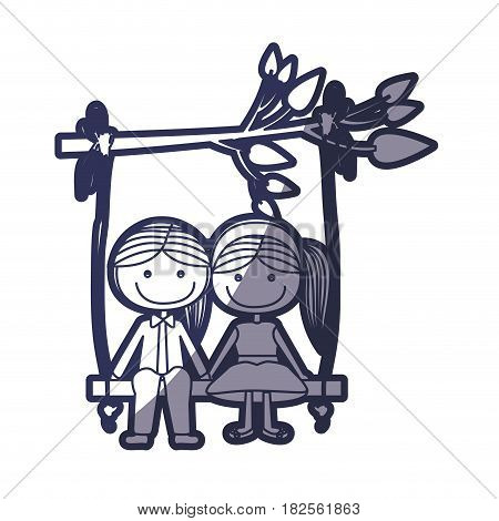 blue color contour caricature guy and girl with pigtails hairstyle sit in swing hanging from a branch vector illustration