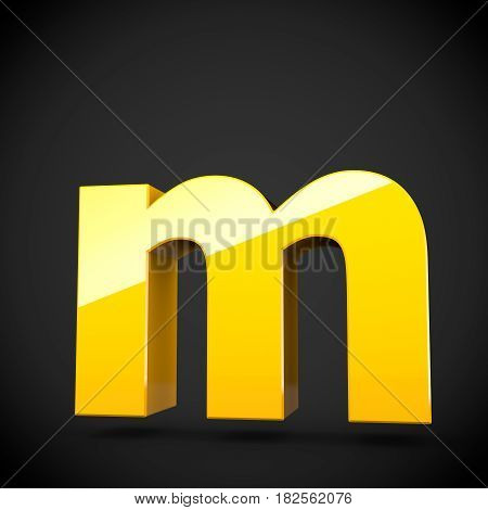 Glossy Yellow Paint Letter M Lowercase With Softbox Reflection