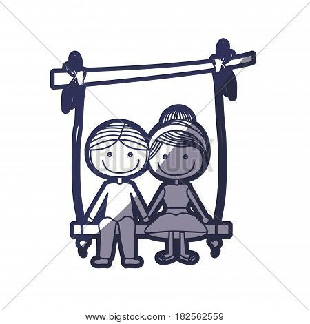 blue color contour caricature guy and girl with collected hairstyle sit in swing hanging from a branch vector illustration