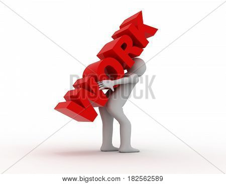 3d man carrying heavy work . rendered illustration