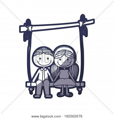 blue color contour caricature guy in formal suit and girl with pigtails hairstyle sit in swing hanging from a branch vector illustration