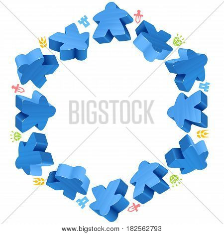 Hex frame of blue meeples for board games. Game pieces and resources counter icons isolated on white background. Vector border for design boardgames advertisement or template of geek t-shirt print