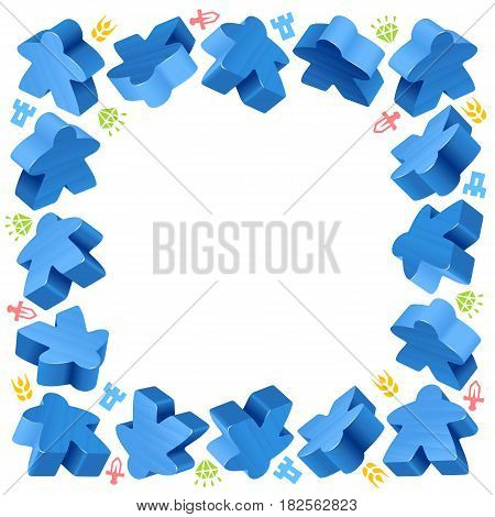 Square frame of blue meeples for board games. Game pieces and resources counter icons isolated on white background. Vector border for design boardgames advertisement or template of geek t-shirt print