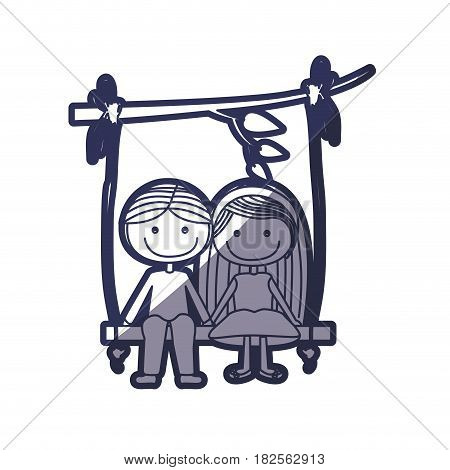 blue color contour caricature guy in formal suit and girl with long hair sit in swing hanging from a branch vector illustration