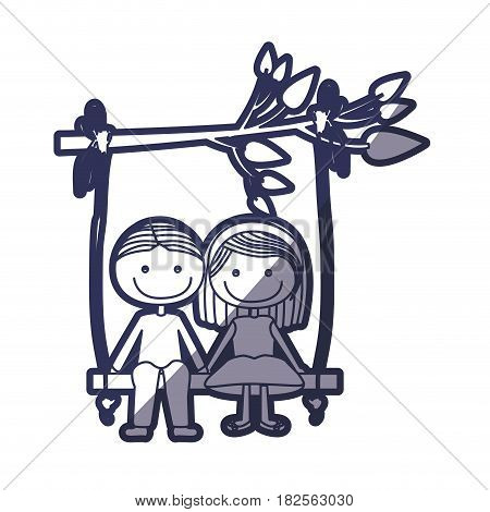 blue color contour caricature guy with informal suit and girl with short hair sit in swing hanging from a branch vector illustration